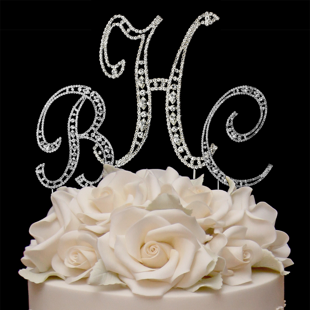 Wedding Cake Monogram Crystal Toppers