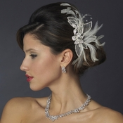 White Feather and Rhinestone Wedding Hair Comb or Clip