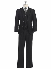 2 Button Black Suit w/ Solid Gray Tie & Black Satin Detail