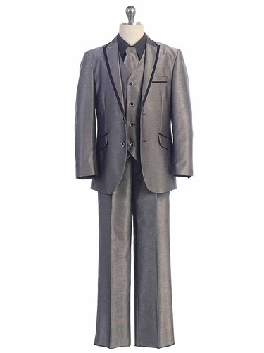 2 Button Grey Suit w/ Black Satin Detail