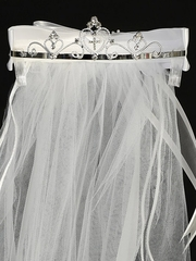 24� White Communion Veil w/ Multiple Hearts Rhinestone Tiara