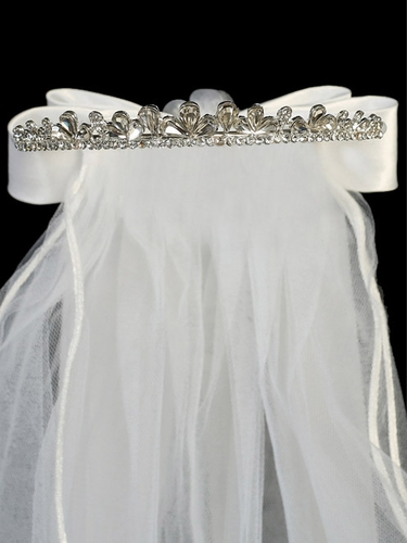 "24"" White Veil on Crystal Rhinestone Tiara w/ Satin Bows At the Back"