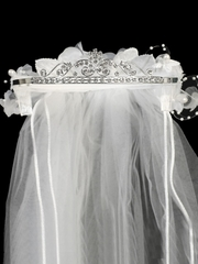24� White Veil on Rhinestone Tiara w/ Flowers