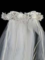 24� White Veil w/ Organza & Crystal Flowers w/ Satin Bows At The Back