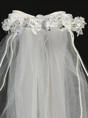 "24"" White Veil w/ Satin Flowers, Rhinestone & Pearl Accents"