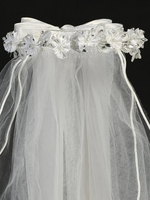 24� White Veil w/ Satin Flowers, Rhinestone & Pearl Accents