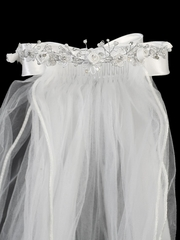 24� White Veil w/ Satin Flowers & Satin Bows At the Back