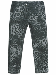 3 Pommes Charcoal Gray Leopard Print Jeans