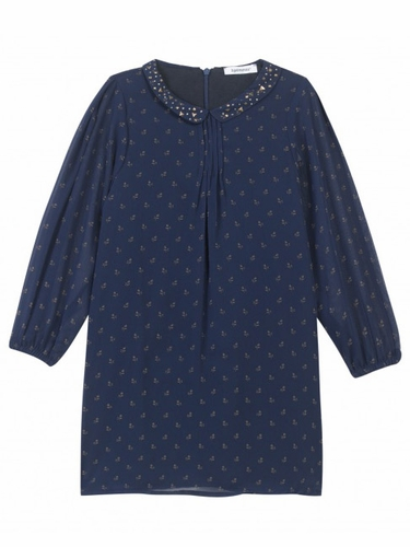 3 Pommes Chic Gold & Navy Robe Dress