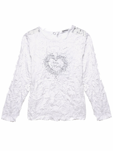 3 Pommes Crinkle Silver Accent T-Shirt