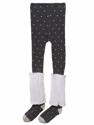 3 Pommes Dark Grey Polka Dot Tights w/ Leg Warmers