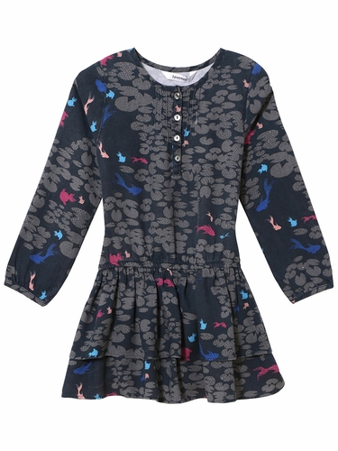 3 Pommes Navy Drop Waist Robe Dress