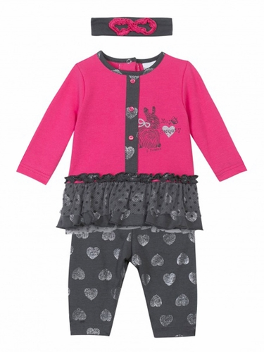 3 Pommes Sweet Girl Fuchsia & Grey Outfit w/ Matching Headband