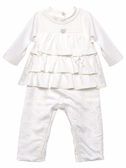 3 Pommes White Ruffle Top w/ Matching Pants