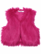 3 Pommes 'Winter Love' Faux Fur Fuchsia Vest