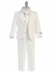 5 Piece Boys White Suit w/ Tie