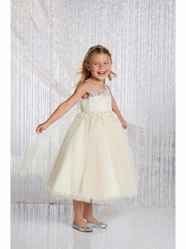Alfred Angelo Ivory/ Silver Elsa Inspired Disney Princess Flower Girl Gown