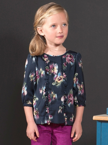 Anthem of the Ants Water Color Floral Caf� Blouse w/ Ruffle
