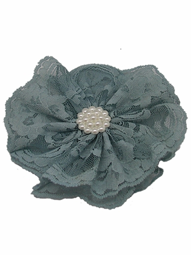 Antique Blue Lace Flower Clip