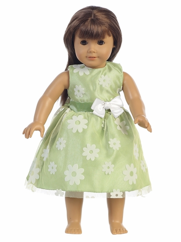 "Apple Green Flower Flocked Tulle 18"" Doll Dress"