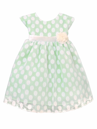 Apple Green Polka Dot Mesh Dress