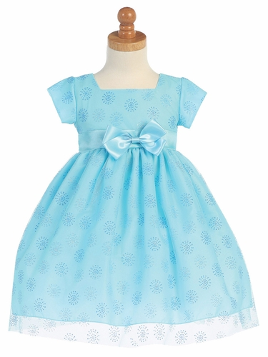 Aqua Cap Sleeve Tulle w/ Glitter Dress