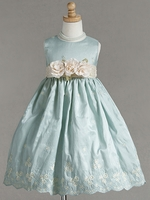 Aqua Embroidered Crinkled Taffeta Dress