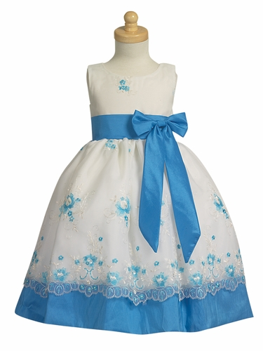 Aqua Embroidered Organza Dress w/ Taffeta Waistband & Bow
