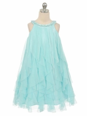 Aqua Mesh Ruffle Dress
