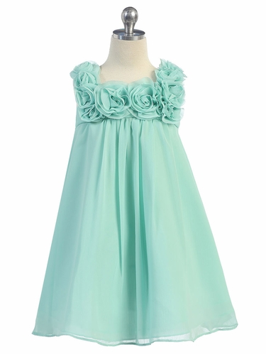 Aqua Mint Yoryu Chiffon Dress w/Rose Buds