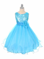Aqua Sequined Bodice w/ Double Layered Mesh Dress