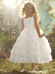Ariel Inspired White Taffeta Dress w/ Re-embroidered Lace & Metallic Accents