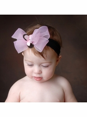 Baby Bling Black/Powder Pink/Baby Pink Bow Headband