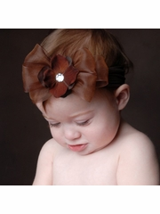 Baby Bling Brown/Turftan Bow Headband