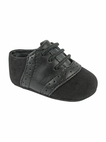 Baby Deer Boys Faux Suede w/ Black Saddle Lace Up Crawling Shoes
