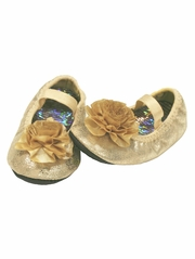Baby Deer Gold Flower Overlay w/ Elastic Strap Girls Shoe