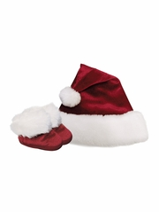 Baby Deer Red Velvet Santa Hat & Matching Santa Booties