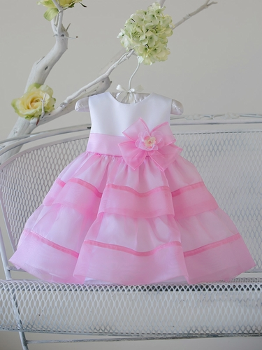 Baby Girl Light Pink Organza Layered Dress w/ Flower