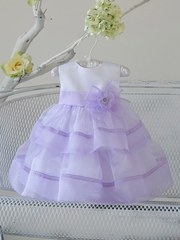 Baby Girl Lilac Organza Layered Dress w/ Flower