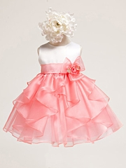 Baby Girl White Satin Bodice w/ Coral Layered Organza Dress