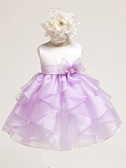 Baby Girl White Satin Bodice w/ Lilac Layered Organza Dress