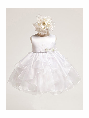 Baby Girl Satin Bodice w/ white Layered Organza Dress