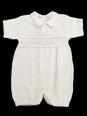 Baby's Trousseau 3 Button Detail Knit Short Sleeve Romper
