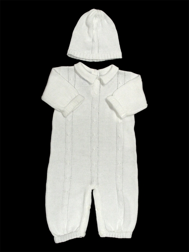 Baby's Trousseau Narrow Bodice Detail Romper with Hat
