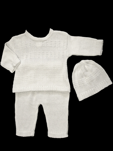 Baby's Trousseau Pant & Sweater Set w/ Hat