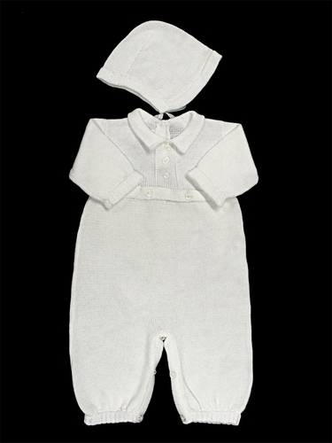 Baby's Trousseau Placket Button Detail Romper with Hat