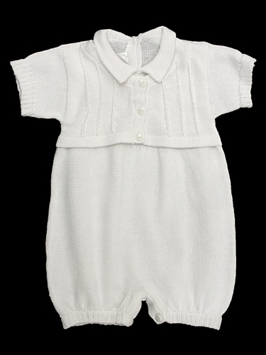 Baby's Trousseau Short Sleeve Mock Sweater Knit Romper