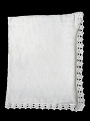 Baby's Trousseau White Christening Blanket