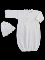 Baby�s Trousseau White Christening Bunting Gown & Hat