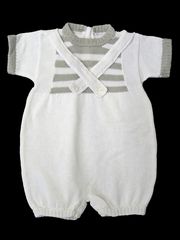 Baby's Trousseau White & Gray Criss Cross Romper
